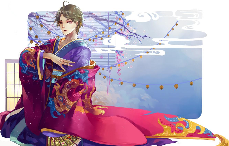 Photo wallpaper pattern, Sakura, fan, white background, guy, lanterns, Japanese clothing, Cape, haikyuu!!, volleyball!!, sugawara koushi