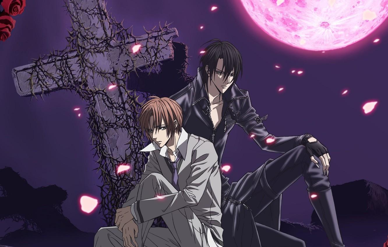 Photo wallpaper night, roses, cross, guys, two, art, blood moon, hotaru odagiri, ura of the bok no …