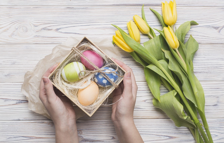 Photo wallpaper holiday, spring, Easter, tulips, box, flower, gift, spring, Easter, eggs, hands