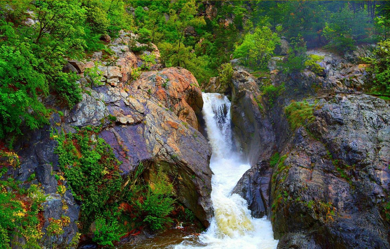 Photo wallpaper Spring, Waterfall, Rocks, Stones, Spring, Waterfall