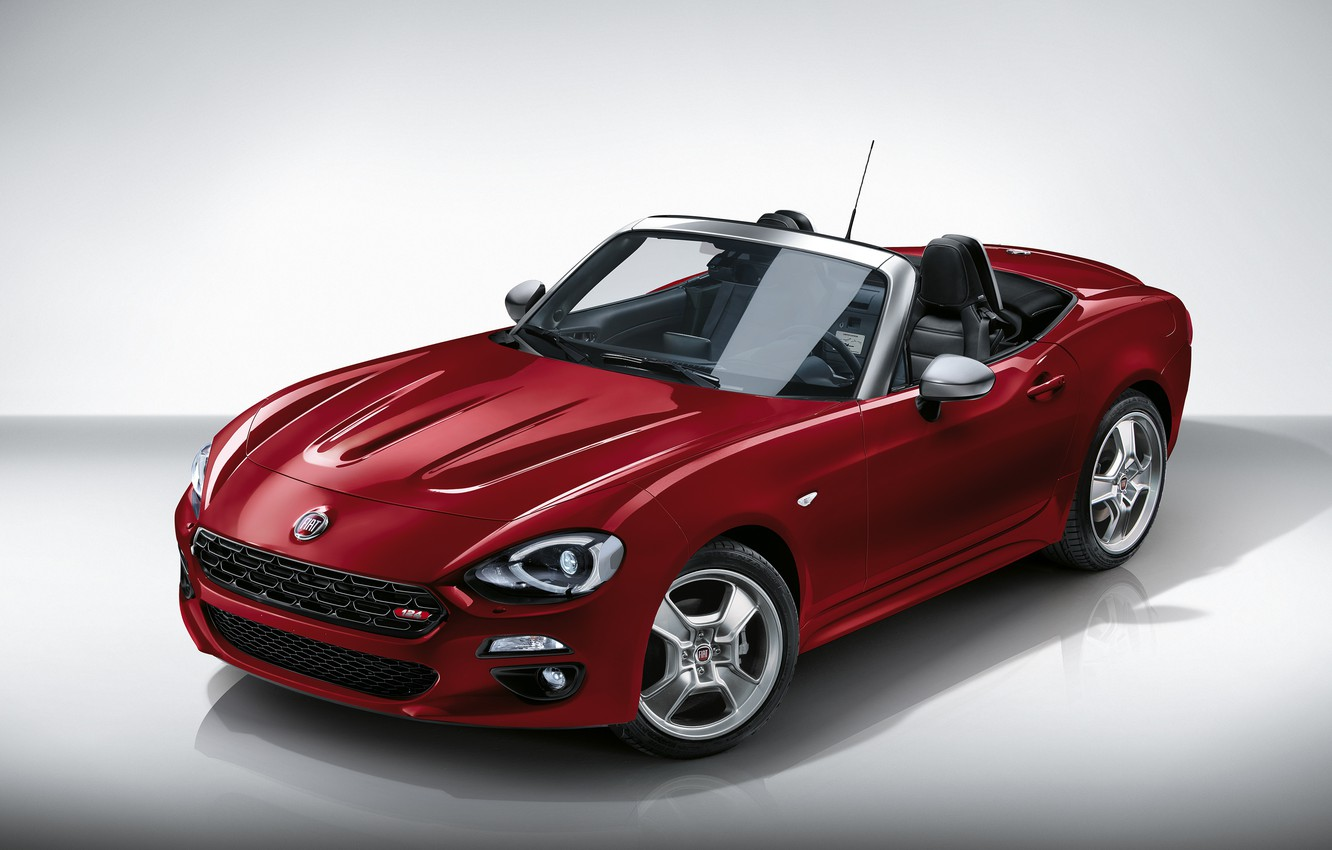 Photo wallpaper red, background, Roadster, drives, Fiat, 124 Spider, Europa Limited Edition