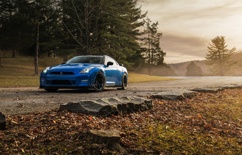 Photo wallpaper Nissan, GT-R, Blue, Road