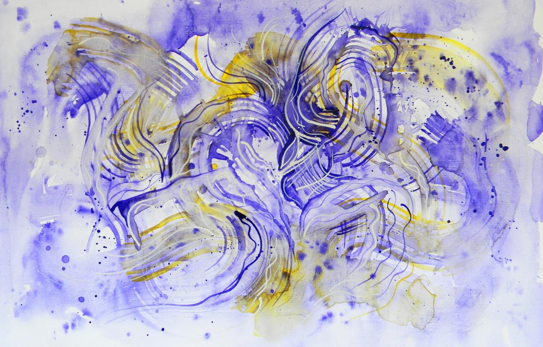Photo wallpaper yellow, Figure, Lena Horn, violet blue
