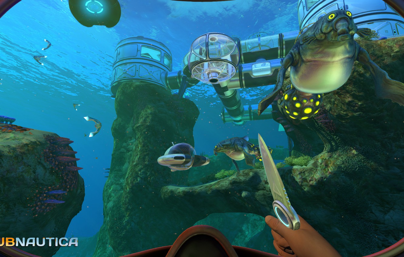 Photo wallpaper station, knife, Subnautica Released Today