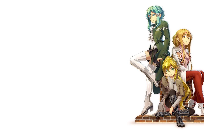 Photo wallpaper girl, minimalism, anime, Yuuki Asuna, Sword Art Online, anime girls, white background, simple background, Leafa, …