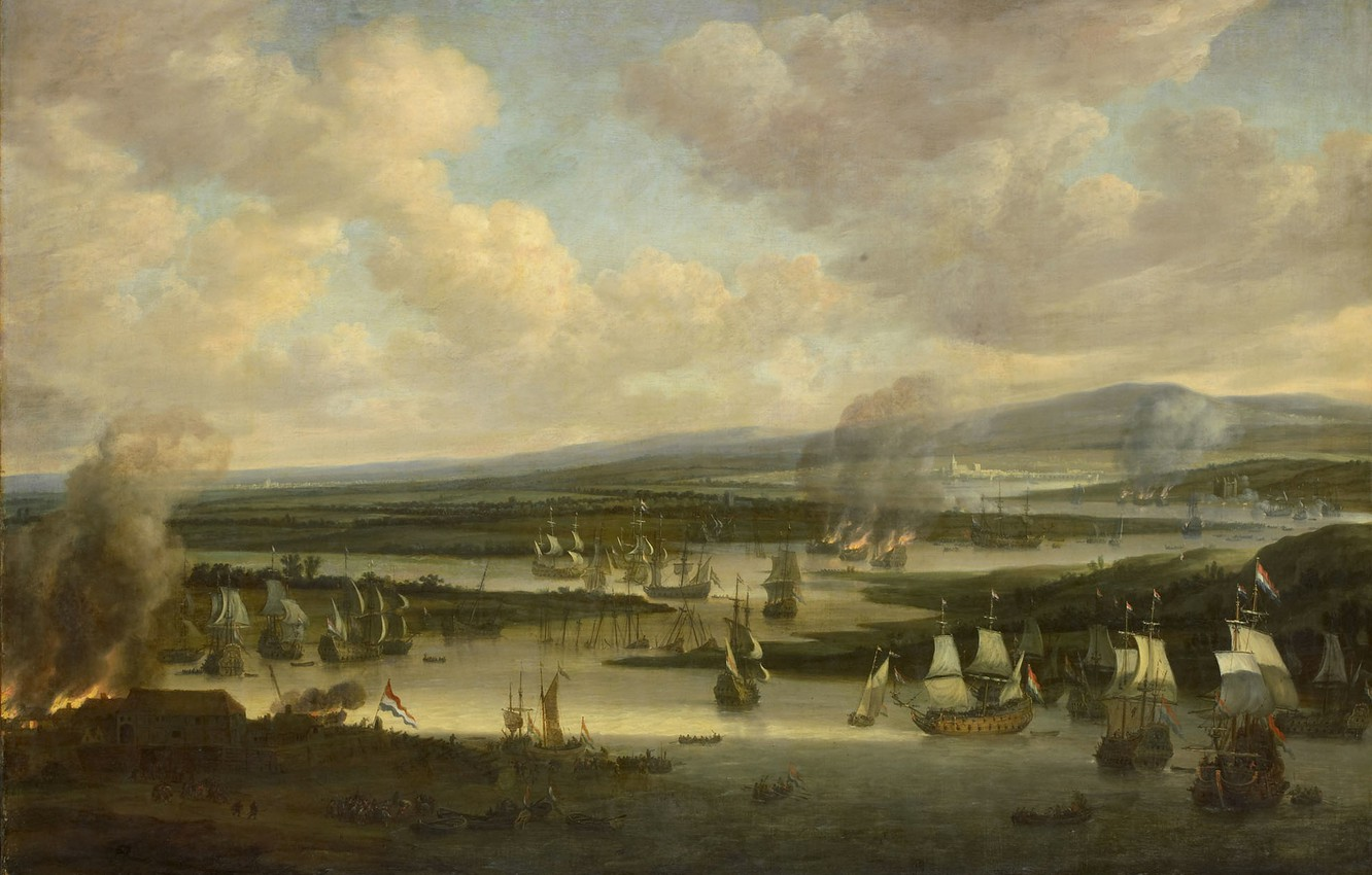 Photo wallpaper oil, picture, canvas, Willem Schellinks, The burning of the English Fleet in Chatham