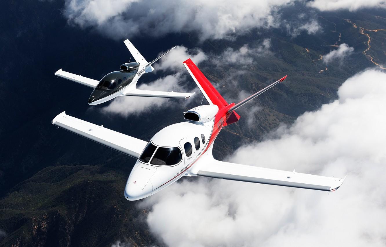 Photo wallpaper the sky, pair, flight, Vision, planes, passenger, The plane, jet, business, Cirrus, jet