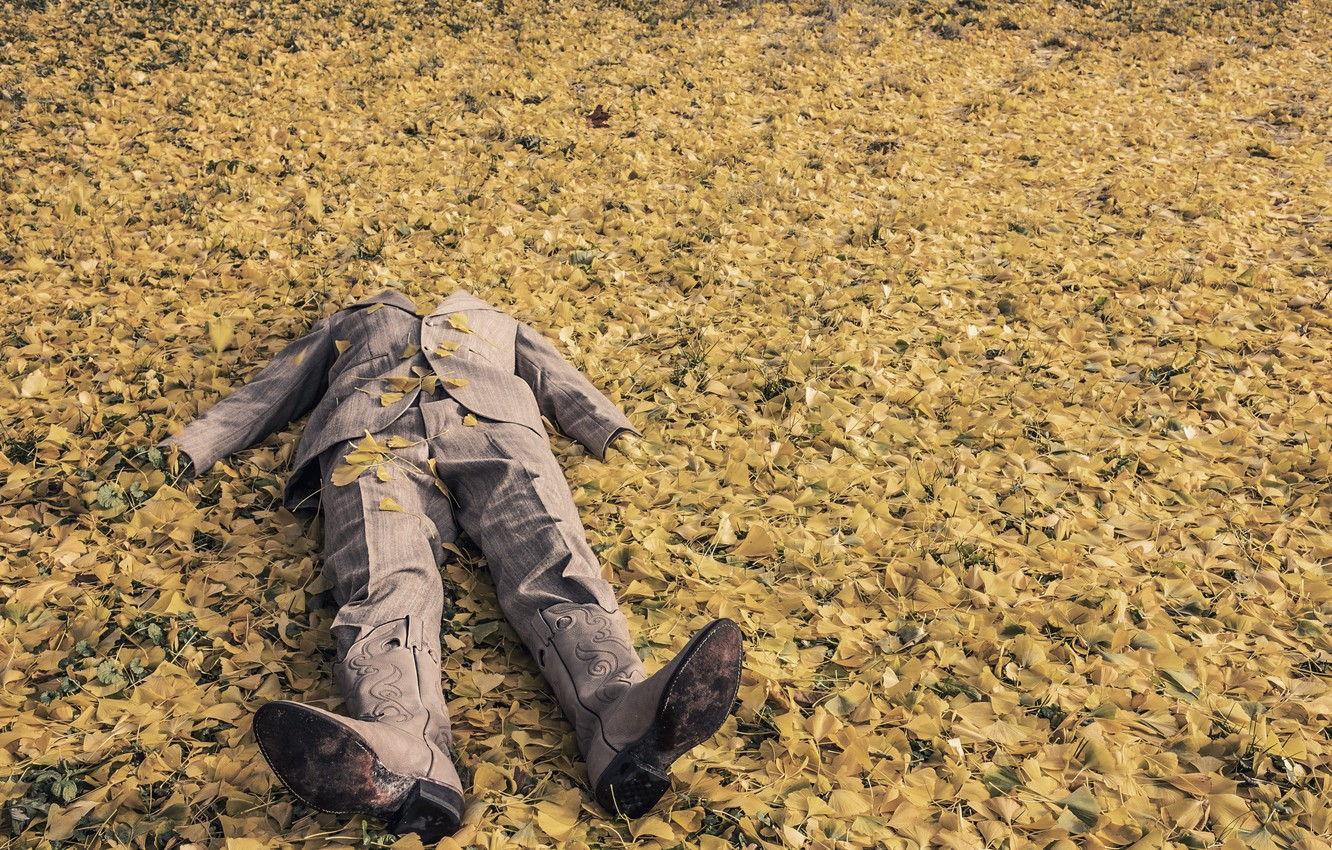 Photo wallpaper autumn, leaves, foliage, man, boots, costume, lies, the leaves of the trees