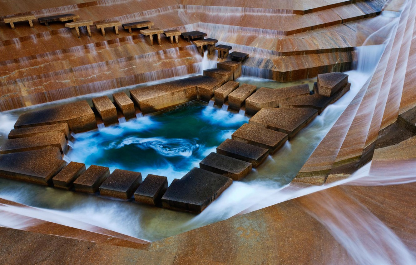 Photo wallpaper USA, Texas, Fort Worth, Water gardens