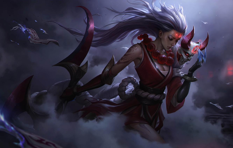 Photo wallpaper League of Legends, Warriors, Blood Moon Diana