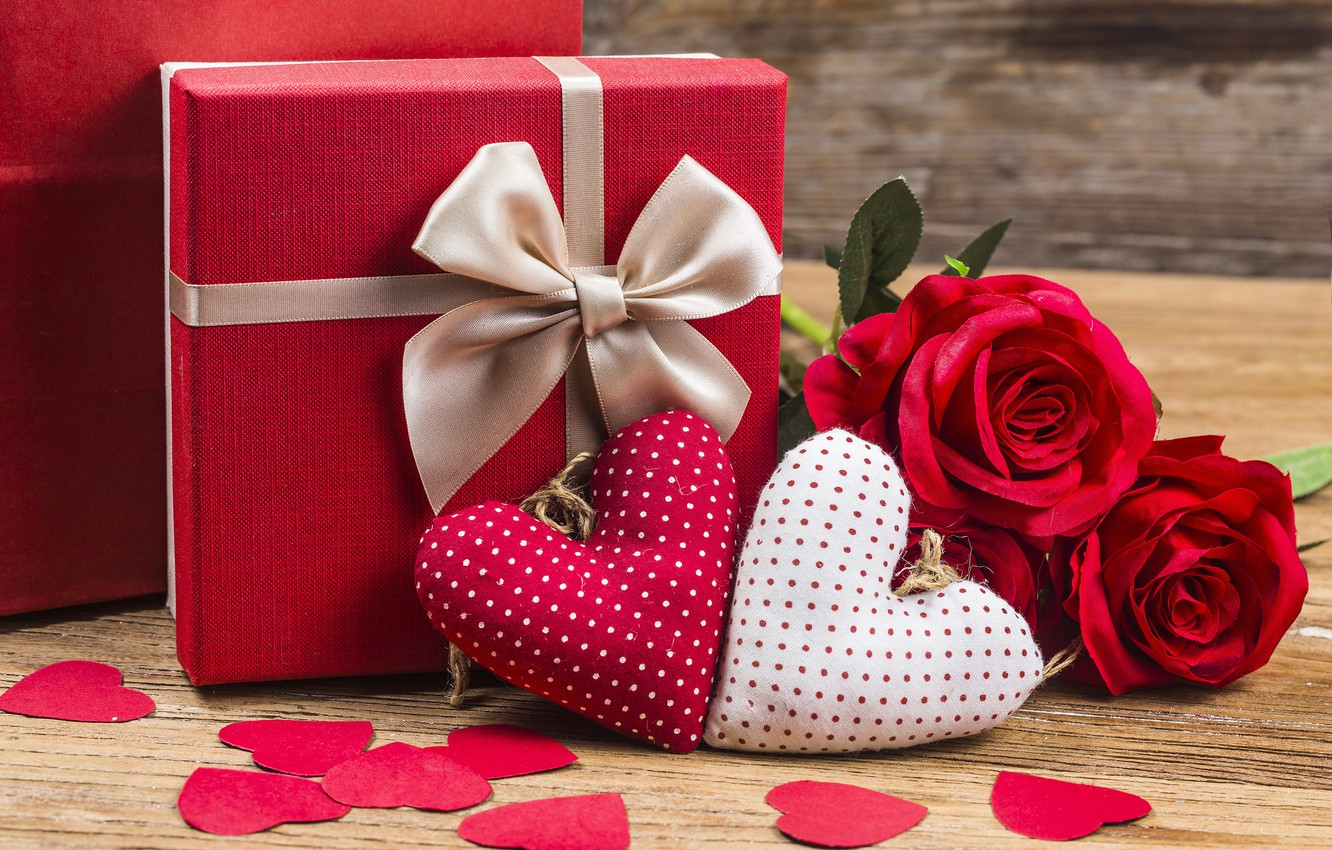 Photo wallpaper Love, Hearts, Holiday, Valentine's day, Gift
