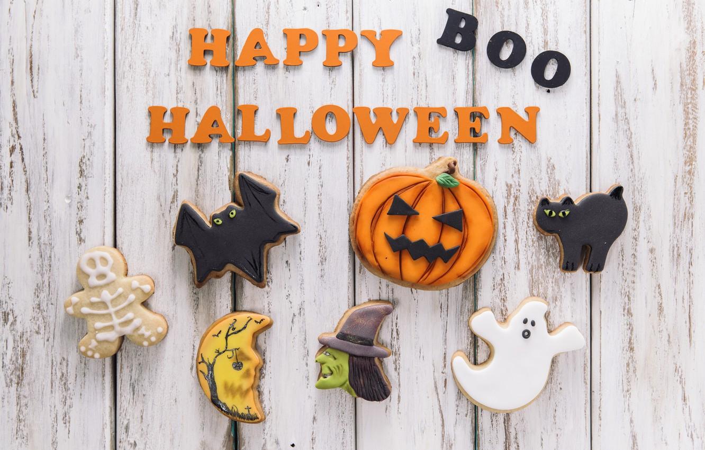 Photo wallpaper holiday, the inscription, spider, cookies, pumpkin, Halloween