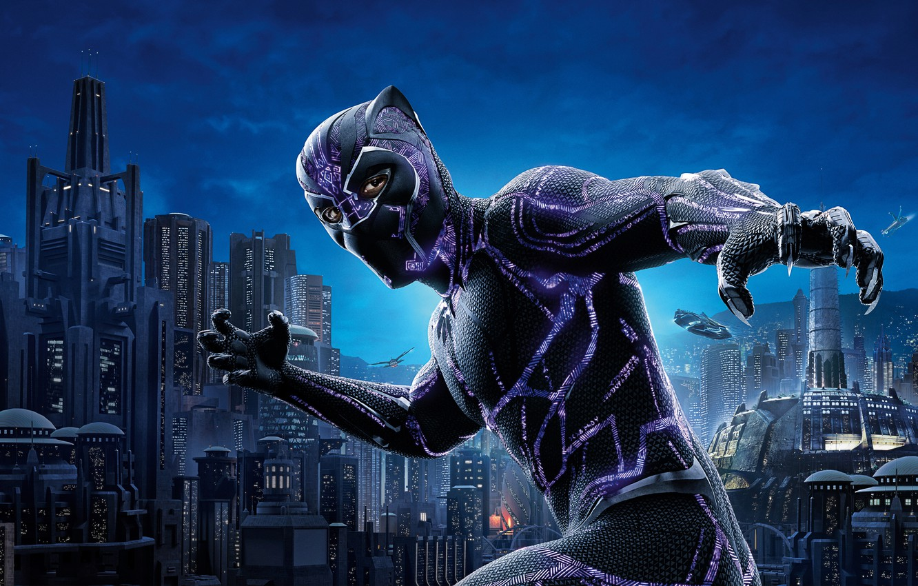Photo wallpaper City, Action, Black, Warrior, The, 2018, Prince, Martin Freeman, Panther, EXCLUSIVE, MARVEL, Walt Disney Pictures, …