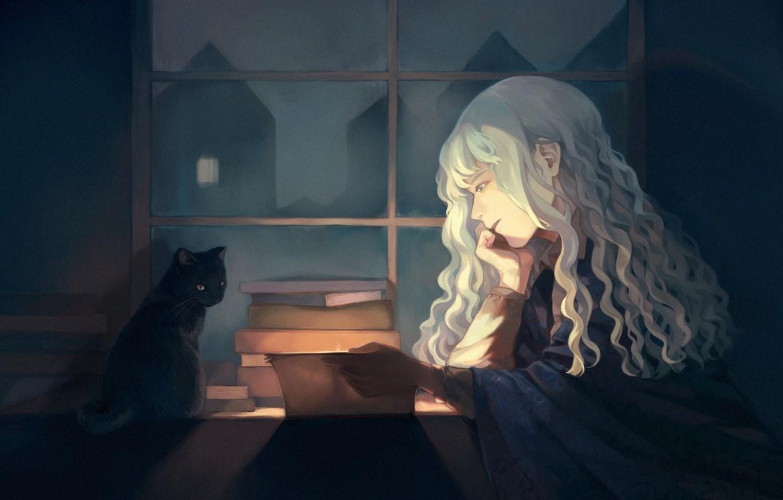 Photo wallpaper cat, girl, interior, reads