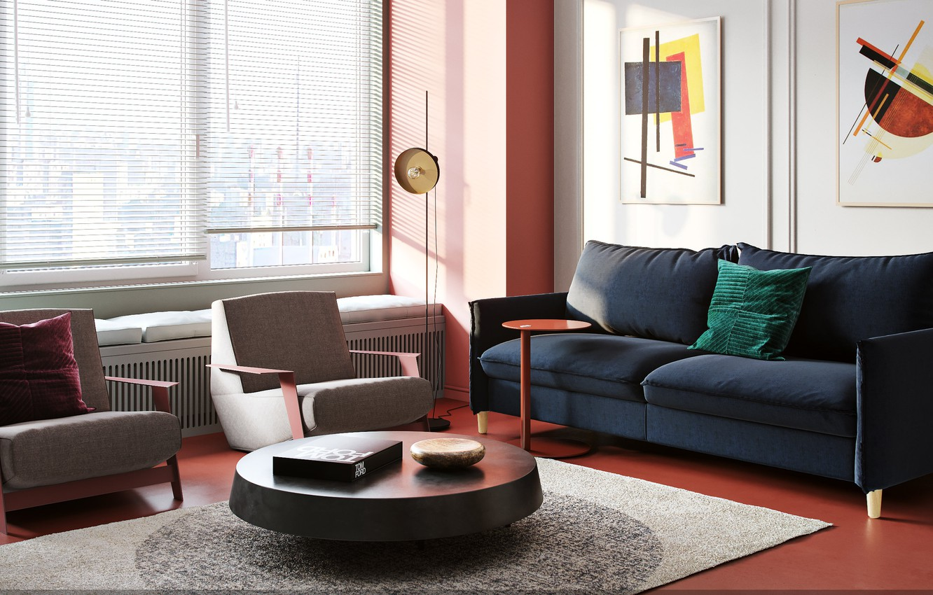 Photo wallpaper table, room, sofa, carpet, picture, chair, window, pillow, blinds