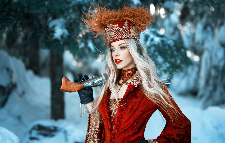 Photo wallpaper girl, gun, long hair, dress, weapon, hat, style, photo, photographer, blue eyes, winter, snow, model, …