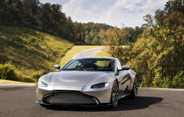 Photo wallpaper forest, the sky, asphalt, Aston Martin, vegetation, coupe, Vantage, 2018, V8, 510 HP, two-door