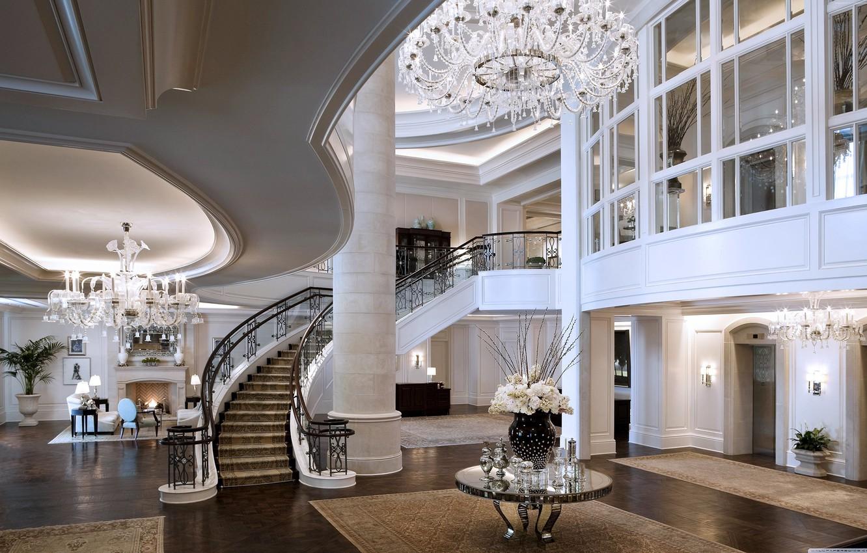 Photo wallpaper ladder, chandelier, fireplace, the hotel, Mandarin Oriental Hotel