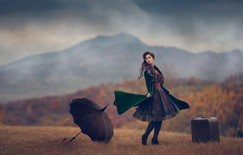 Photo wallpaper autumn, girl, umbrella, mood, dress, suitcase, Monica Lazar
