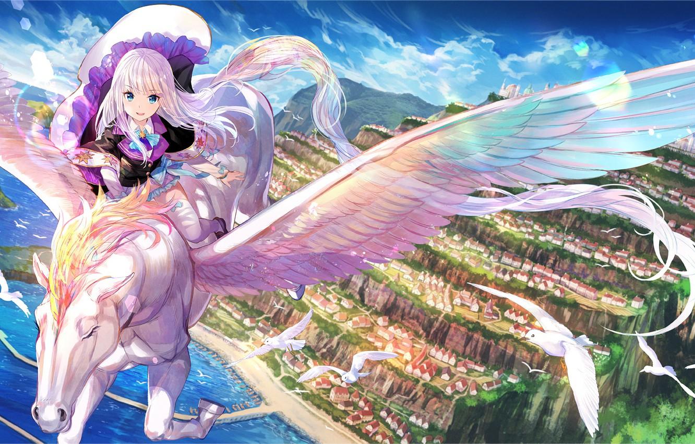 Photo wallpaper art, girl, Pegasus, Syosetsuka ni Narou
