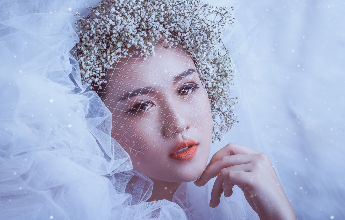 Photo wallpaper look, girl, flowers, face, style, mood, hand, makeup, Asian, the bride, veil, veil, gypsophila