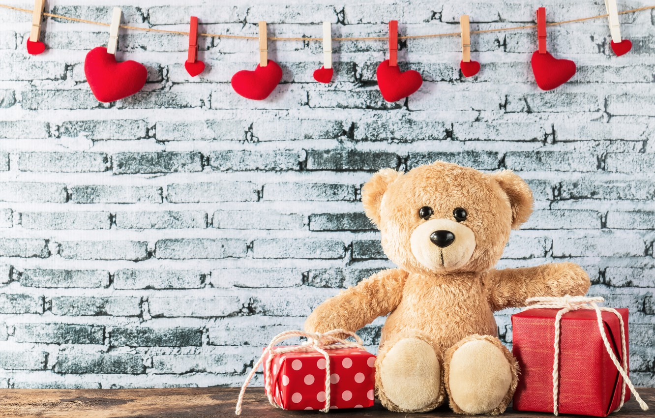 Photo wallpaper love, heart, gifts, hearts, red, love, box, bear, heart, wood, romantic, teddy, valentine's day, gift