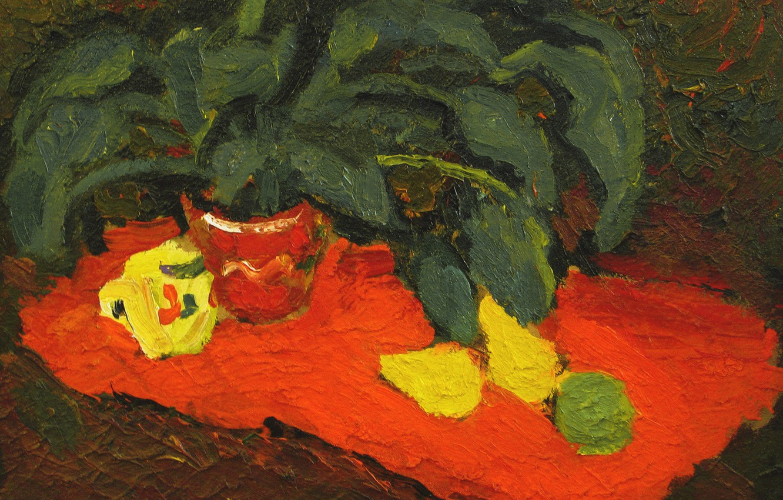 Photo wallpaper 2006, still life, lemons, The petyaev, a flower in a pot, orange fabric