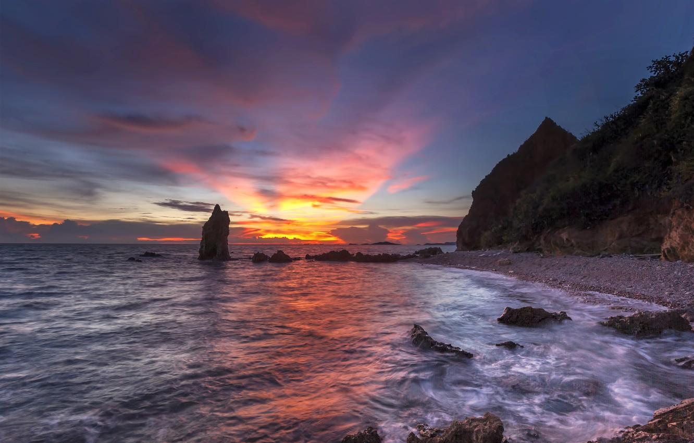 Photo wallpaper sand, sea, wave, beach, summer, the sky, sunset, stones, rocks, shore, summer, twilight, beach, sea, ...