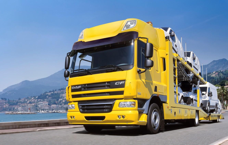 Photo wallpaper road, yellow, car Transporter, tractor, DAF, DAF, Euro5, 4x2, DAF CF75.360