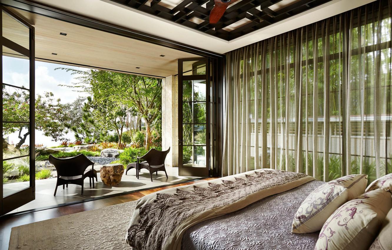 Photo wallpaper interior, bedroom, terrace, Asian Inspired Home