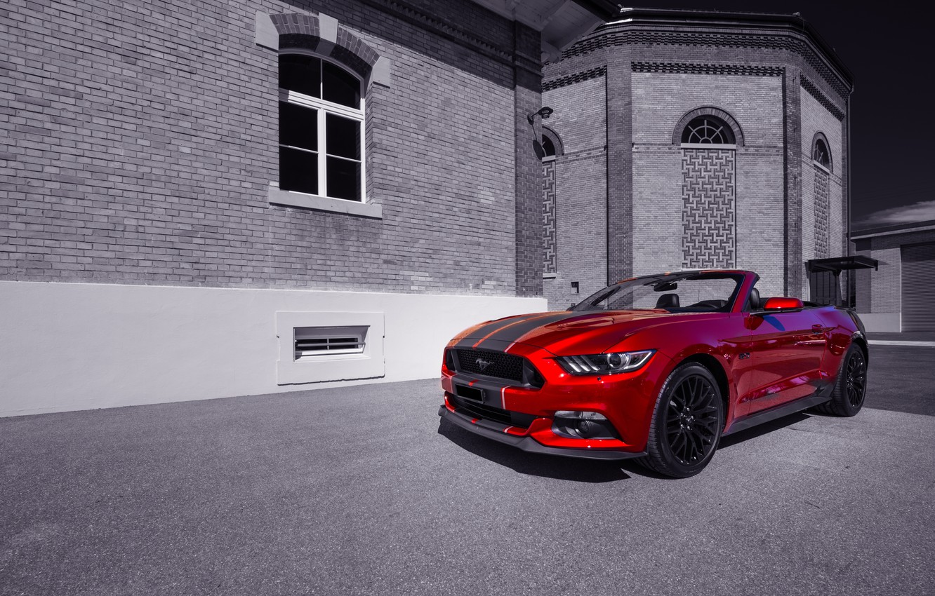 Photo wallpaper red, Mustang, Ford, 2016 Ford Mustang GT Convertible