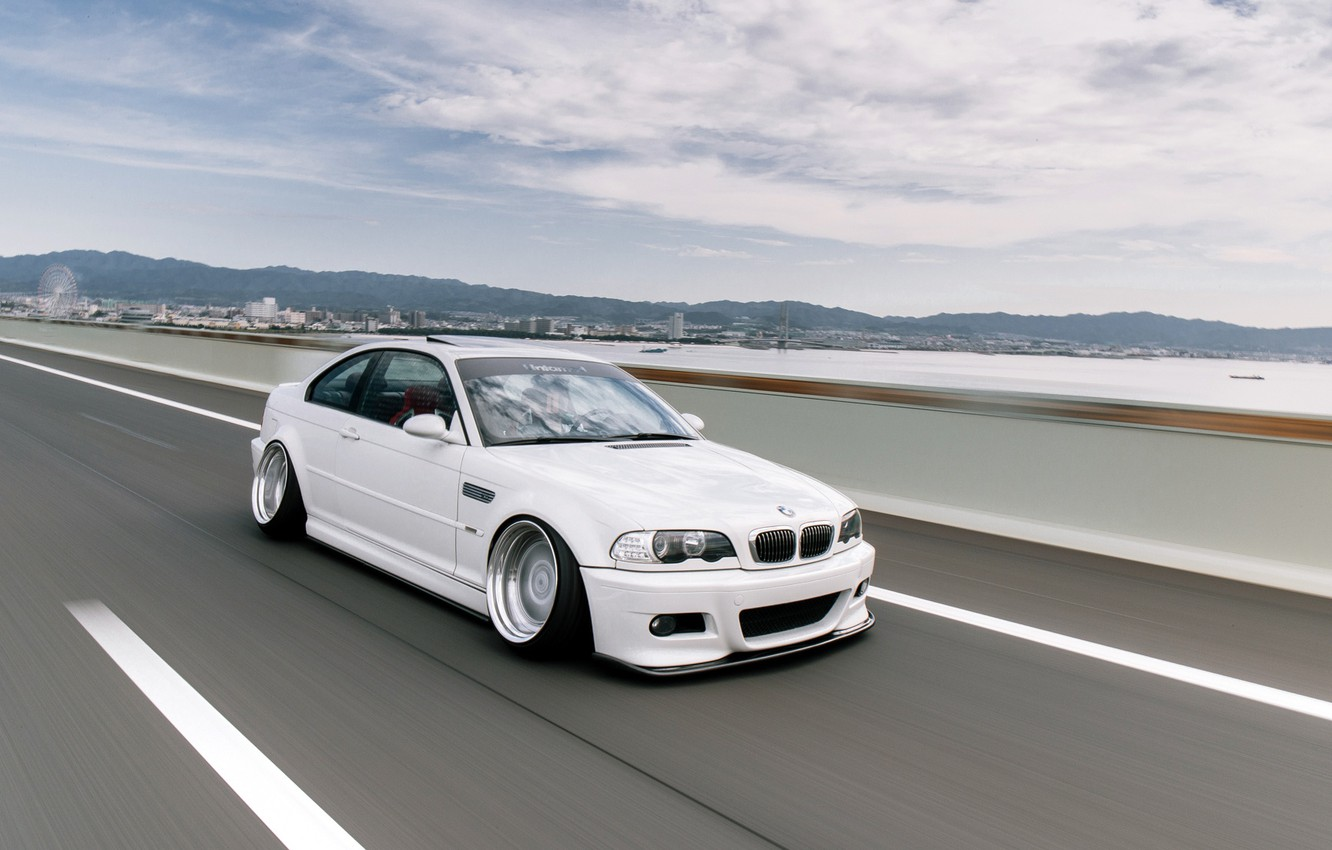 Photo wallpaper The sky, Auto, Road, White, BMW, Machine, BMW, Day, Car, E46, BMW M3, German, BMW …