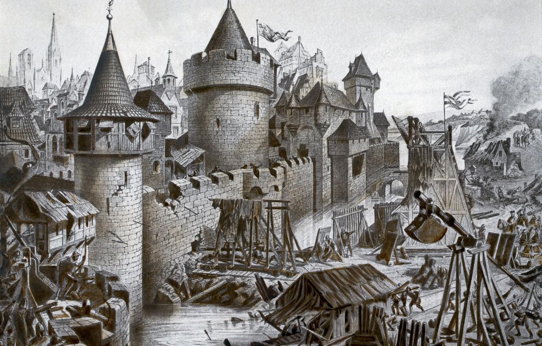 Photo wallpaper castle, Gravure, black and white, The Siege Of Lukomore