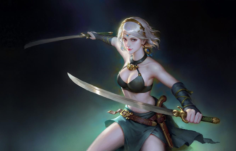Photo wallpaper girl, weapons, warrior, fantasy, art, wenfei ye, Tang Punk 2