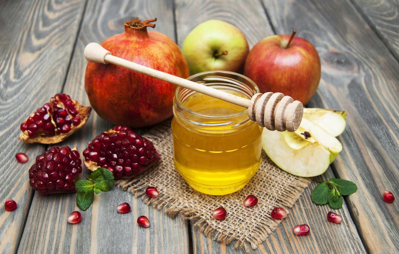 Photo wallpaper apples, Board, Bank, honey, bokeh, garnet