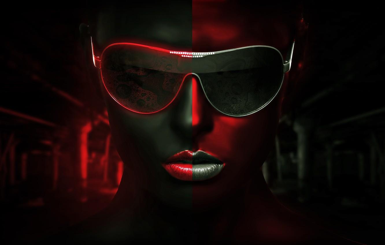 Photo wallpaper girl, glasses, legacy, BossLogic, red gray background