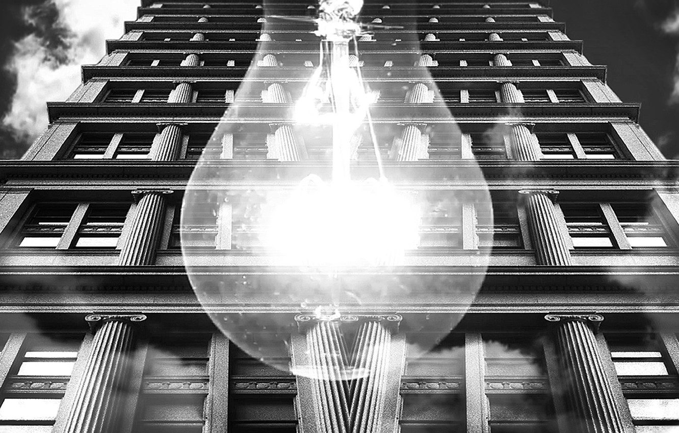 Photo wallpaper the building, black and white, Light bulb, architecture