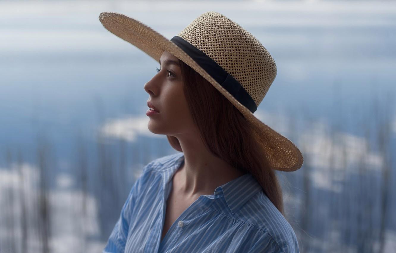 Photo wallpaper Girl, Photo, Model, Girl, Hair, Profile, Hat, Brunette, Sonya, Brunette, Model, Shirt, Beauty, Photo, Beautiful, …