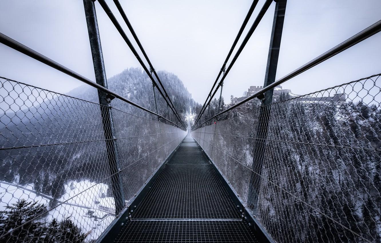 Photo wallpaper winter, bridge, fog