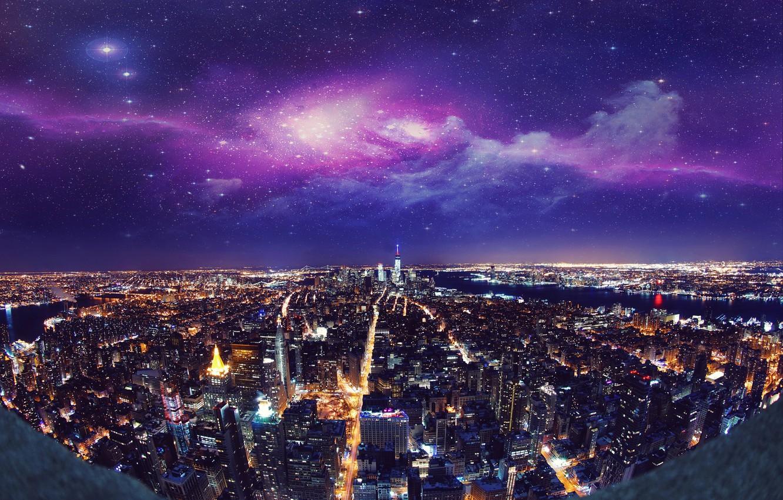 Photo wallpaper night, the city, lights, New York, skyscrapers, USA, USA, New York, Manhattan, manhattan