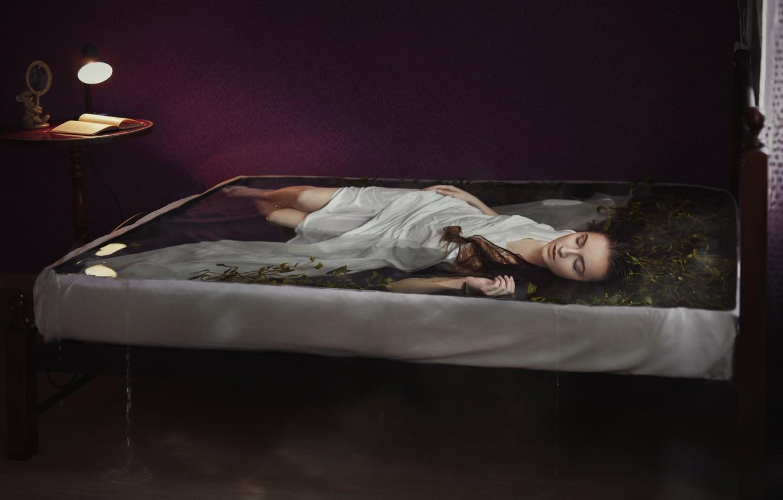 Photo wallpaper water, algae, pose, sleep, wet, lamp, lies, book, light, brown hair, legs, russian, nightie, long-haired, …
