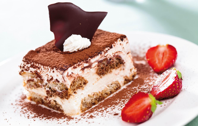 Photo wallpaper chocolate, strawberry, cake, mint, tiramisu