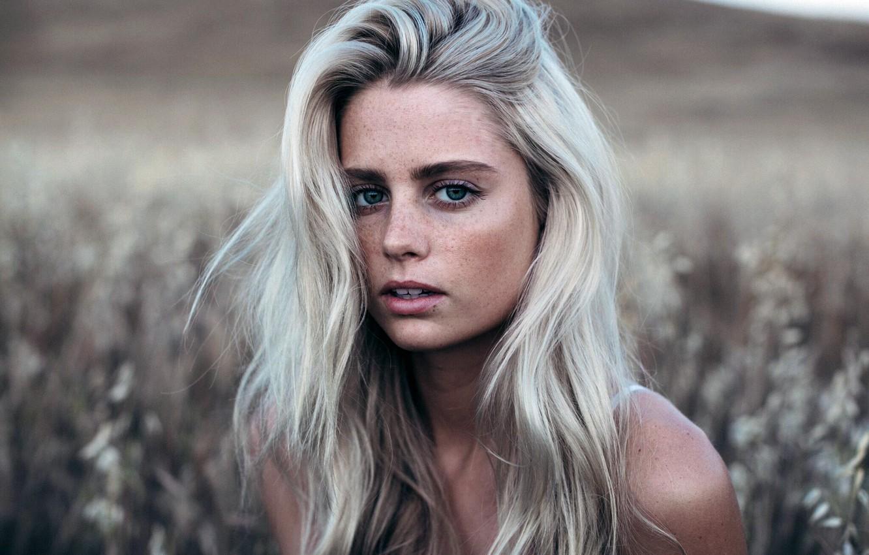 Wallpaper Girl Green Eyes Long Hair Field Photo Model Lips