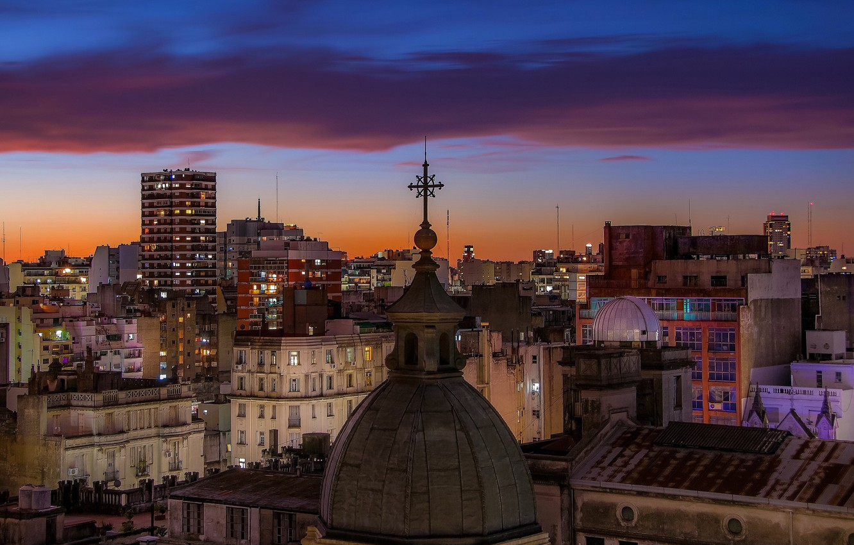 Photo wallpaper twilight, sunset, Argentina, dusk, downtown, blue hour, cityscape, church, Buenos Aires, urban scene
