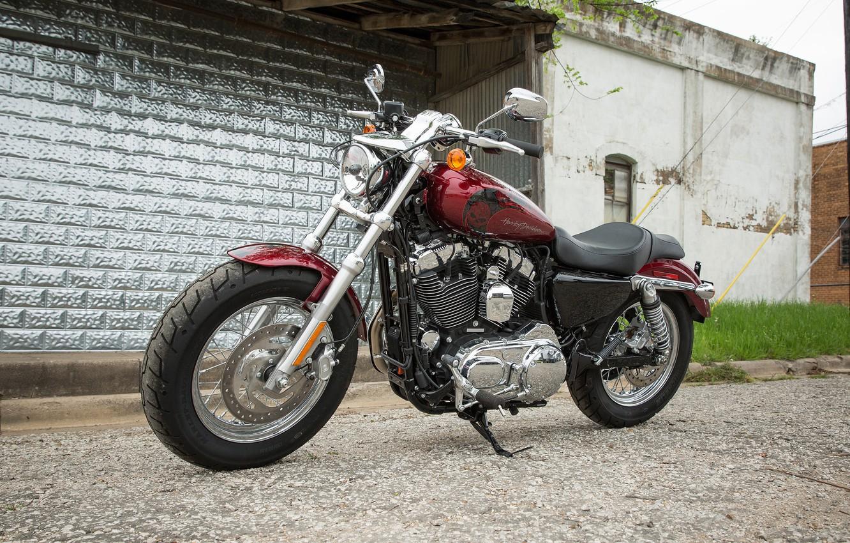 Photo wallpaper Bike, Motorcycle, Red., Harley-Davidson Sportster 1200 Custom