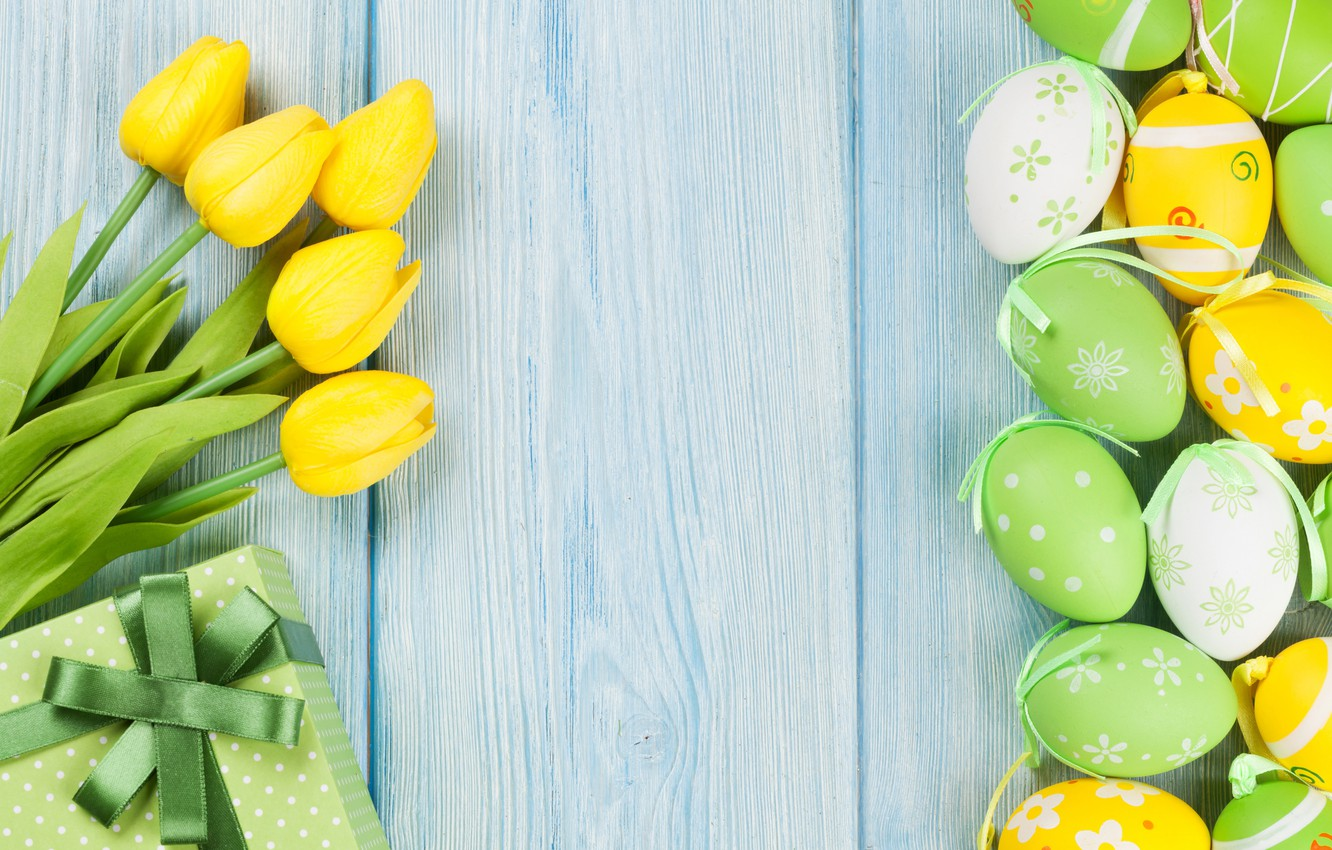 Photo wallpaper Easter, tulips, yellow, wood, tulips, spring, Easter, eggs, decoration, Happy, tender, the painted eggs