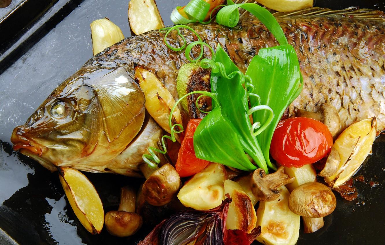 Photo wallpaper mushrooms, fish, vegetables, potatoes