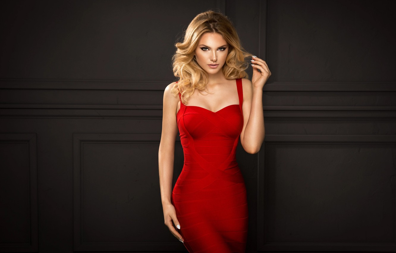 Photo wallpaper look, girl, blonde, in a red dress, artur k