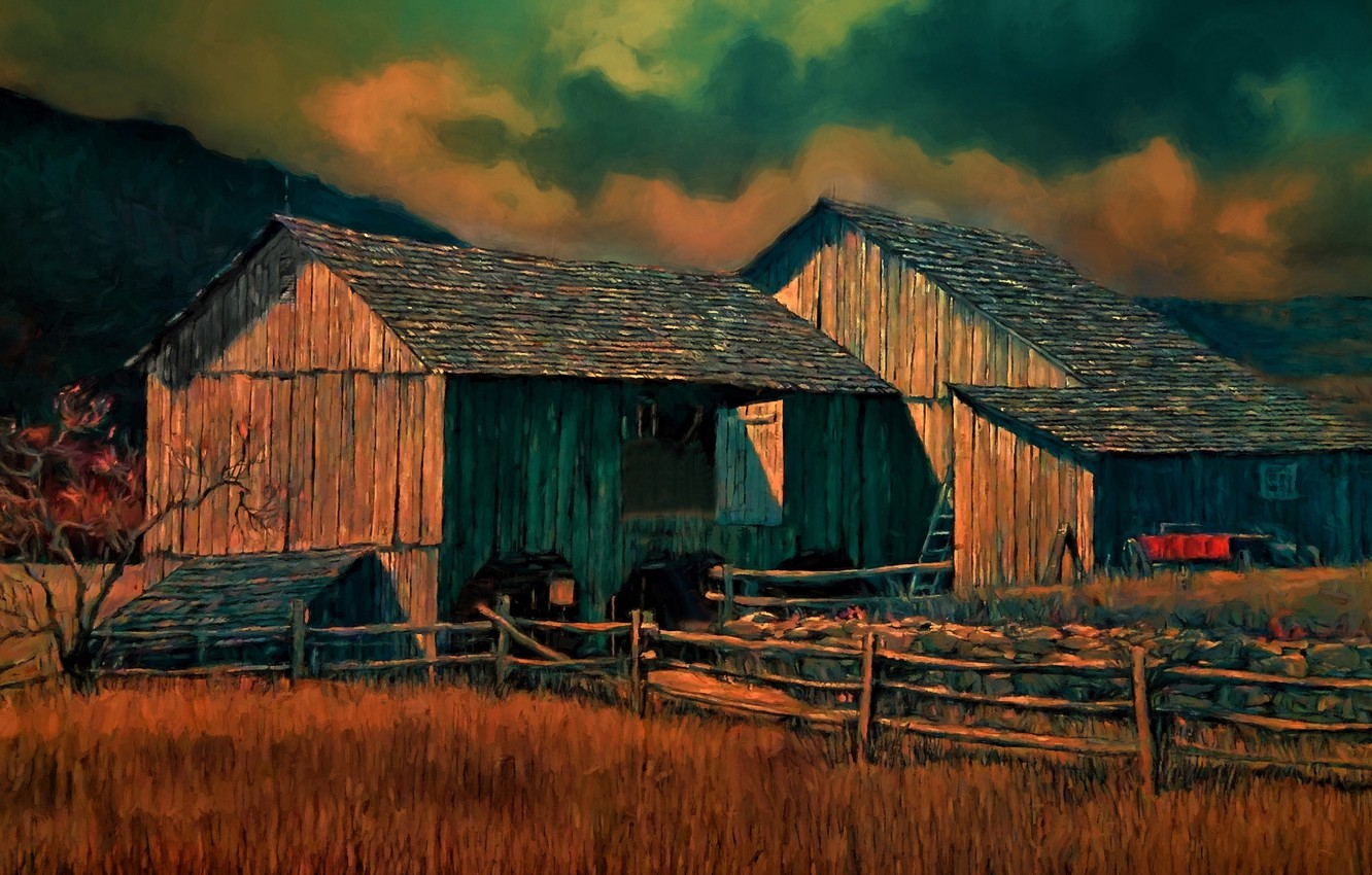 Photo wallpaper nature, house, the fence, agriculture