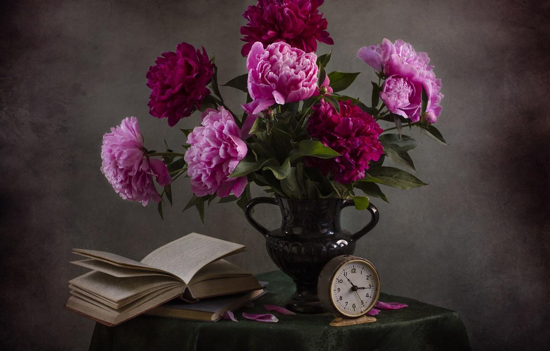 Photo wallpaper table, books, bouquet, still life, vintage, tablecloth, peonies, reading, bouquet of peonies, Svetlana Andreyanova, the …